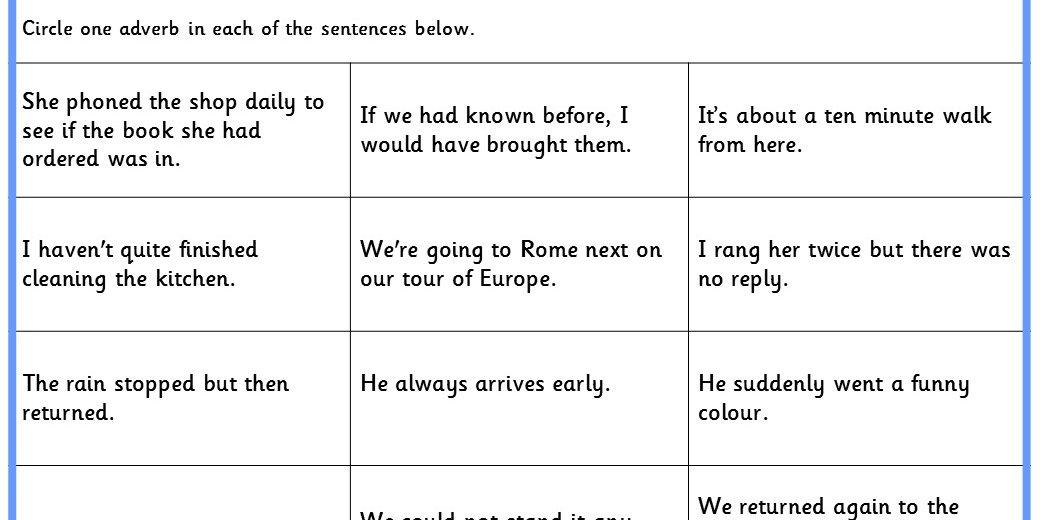 Identifying Adverbs Ks1 And Ks2 Spag Test Practice
