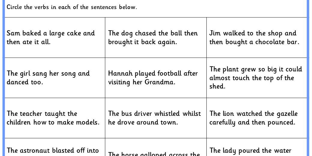 Identifying Verbs Ks1 Spag Test Practice