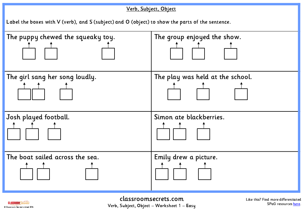 Verb Subject Object Ks2 Spag Test Practice