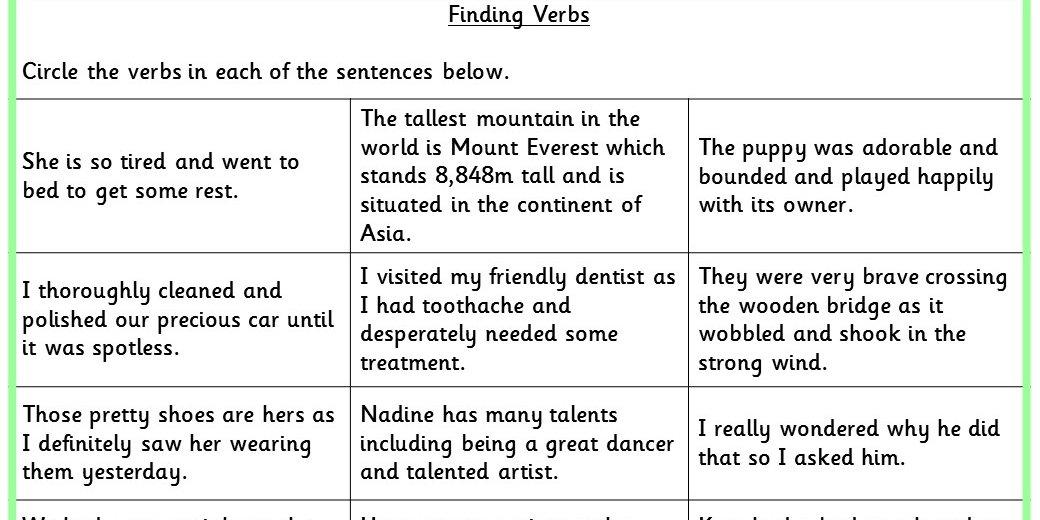 Finding Verbs Ks2 Spag Test Practice
