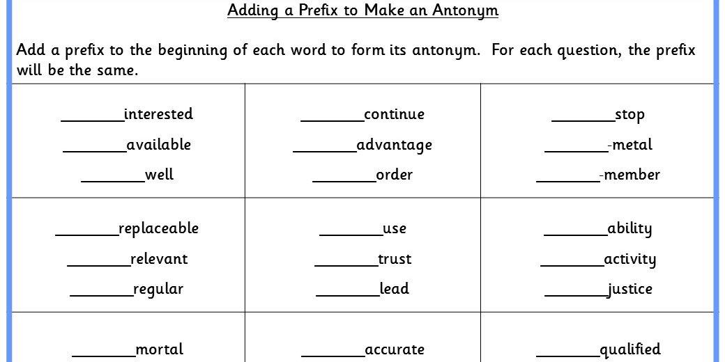 Adding A Prefix To Make An Antonym Ks2 Spag Test Practice