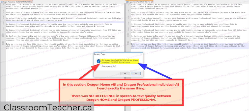 Screenshot comparing speech-to-text transcriptions by Dragon Home v15 and Dragon Professional Individual v15. In this part, both versions of Dragon were identical