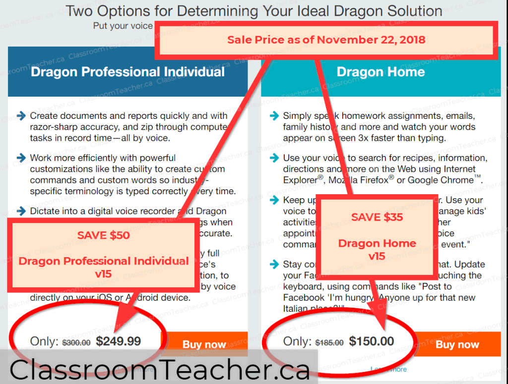 Sceenshot from Nov 22, 2018: Save $50 on Dragon Professional Individual and Save $35 on Dragon Home voice software