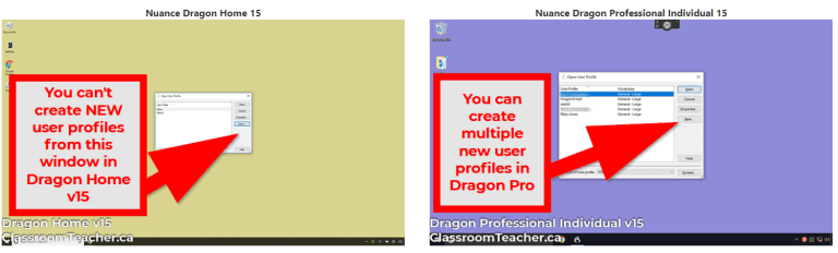 Use Dragon Speak Naturally: Side by side comparison of Nuance Dragon Home 15 vs Nuance Dragon Professional 15 showing multiple user profile option in start window