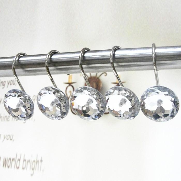 clear diamond shower curtain hooks