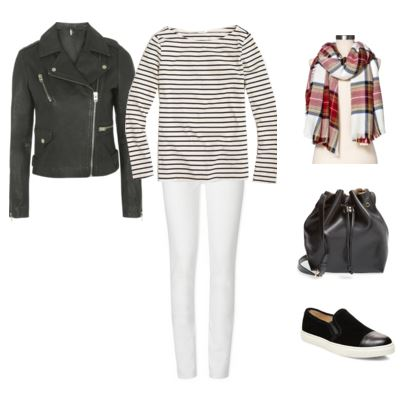 leather jacket - striped top - white jeans