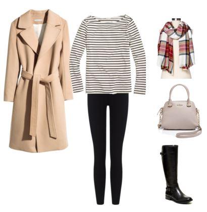 12 camel coat - striped top - leggings