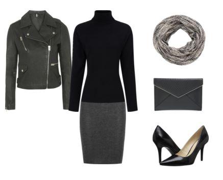 20 leather jacket - black turtleneck - gray skirt