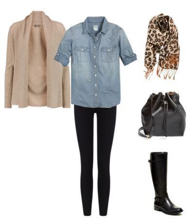 taupe cardigan - chambray shirt - leggings