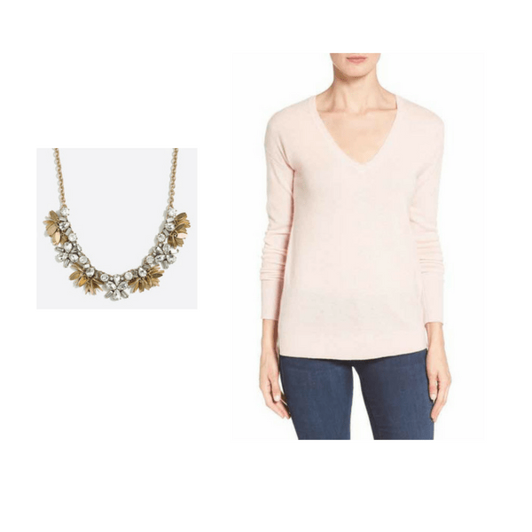 V Neck Sweater with Statement Necklace