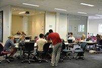 Open Group study tables with group study rooms in background