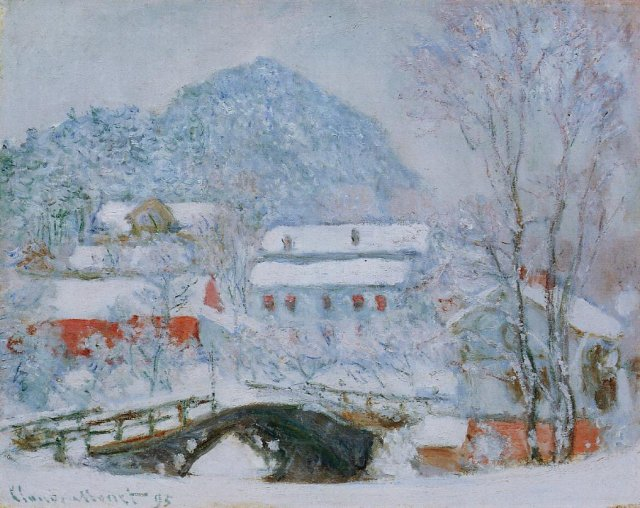 Claude Monet Sandviken Village in the Snow