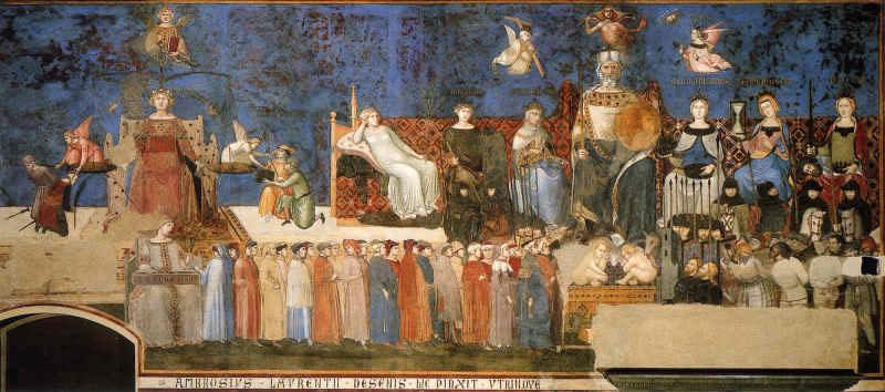 Figure 1: «Le bon gouvernement»[1], Fresque d'Ambrogio Lorenzetti, Hôtel de ville de Sienne