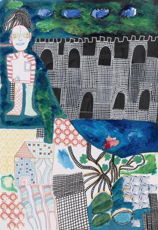 Homme debout avec château - Peinture de Claude Tironneau