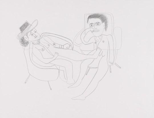 Jean-Marc et Sophie assis - Dessin de Claude Tironneau
