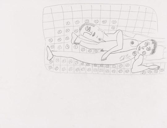 Couple allongé entrelacé - Dessin de Claude Tironneau