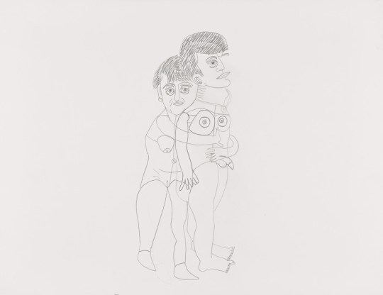 Couple debout entrelacé - Dessin de Claude Tironneau