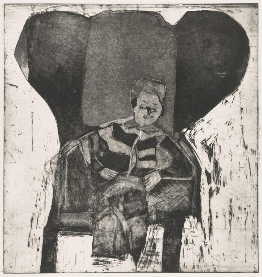 Francis dans le fauteuil rouge - Gravure de Claude Tironneau