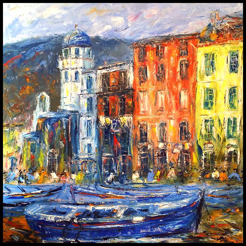 Petit port de Vernazza - Taille 100x100 cm