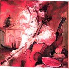 Les musiciens à Venise peinture à l'huile d'après une oeuvre d'Hervé Loilier
