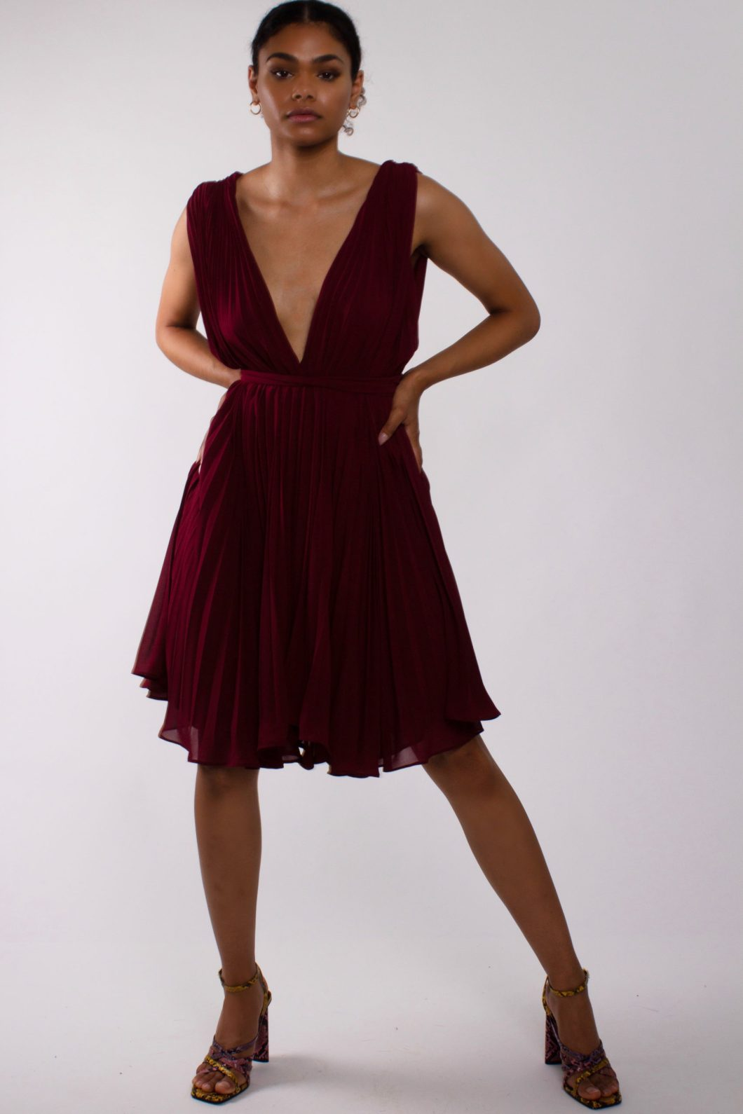 """Flirty flowy dress"" pleated chiffon short dress"""