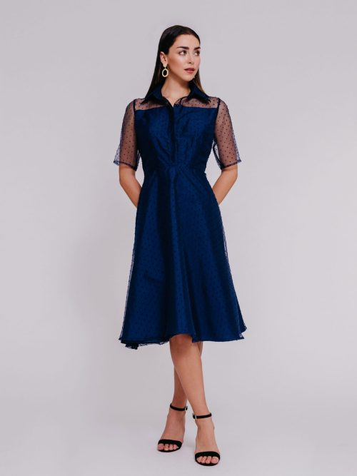 """3/4 sleeves shirt dress"" ""organza Aline mini polka dots"" ""knee length cocktail clothing"""