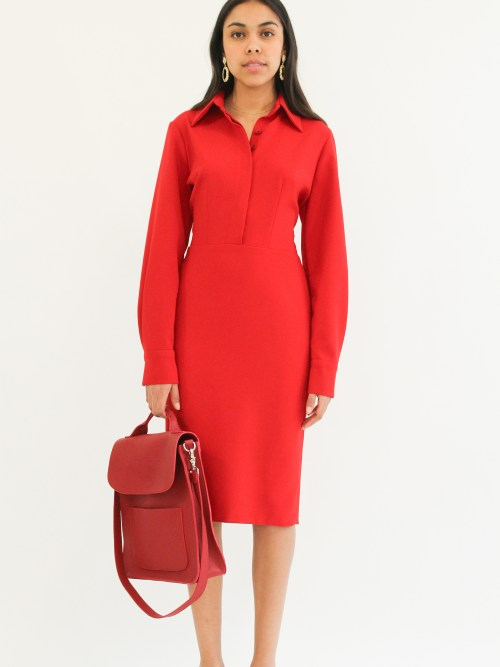 """ shirt dress""""crepe pencil red dress"""