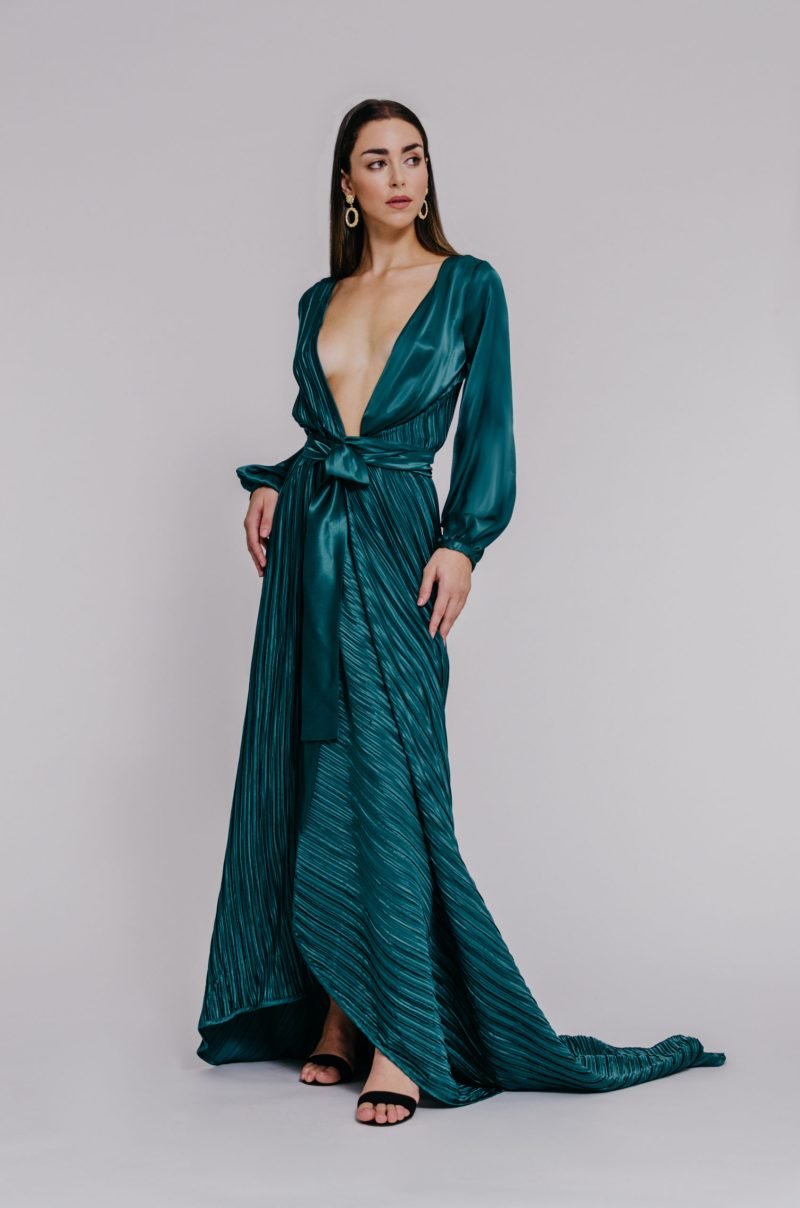 """""""Plunging neckline gown"""" """"full sleeves satin gown"""""""