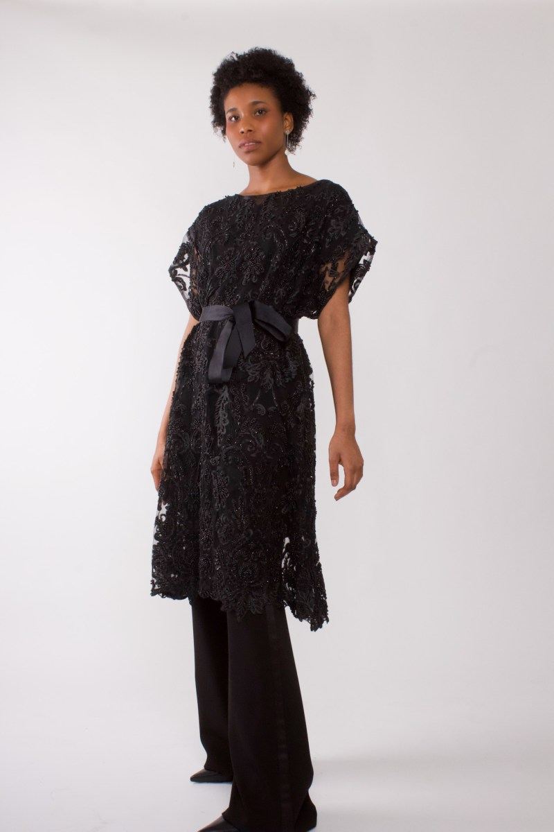 """Black beaded party dress"""