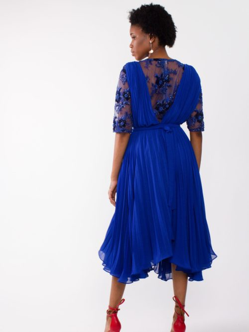 """flowy midi chiffon dress"" ""plunging back and front dress"""