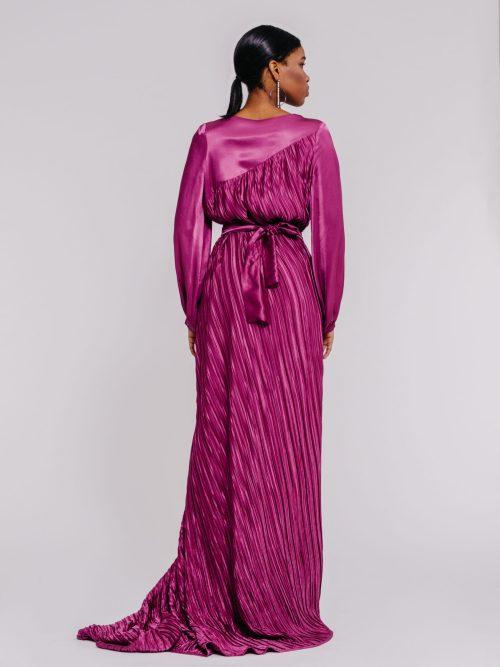 Plunging neckline satin gown