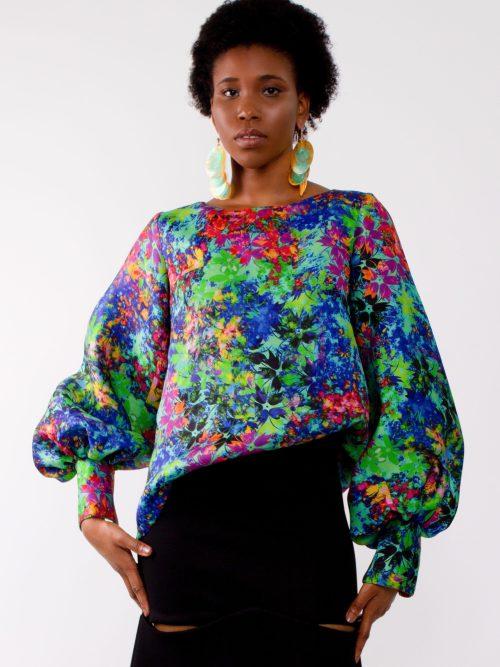 """Silk print puff sleeve blouse"""