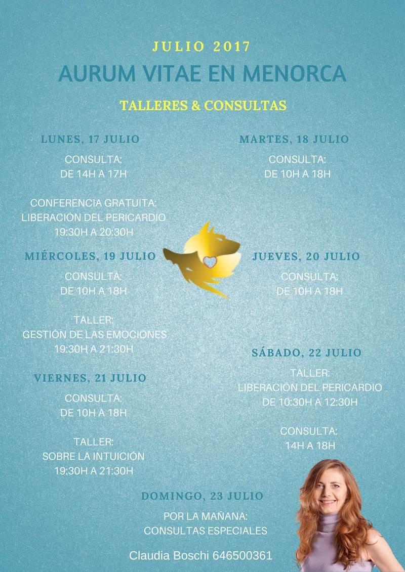Talleres, consultas y conferencias Claudia Boschi en Menorca
