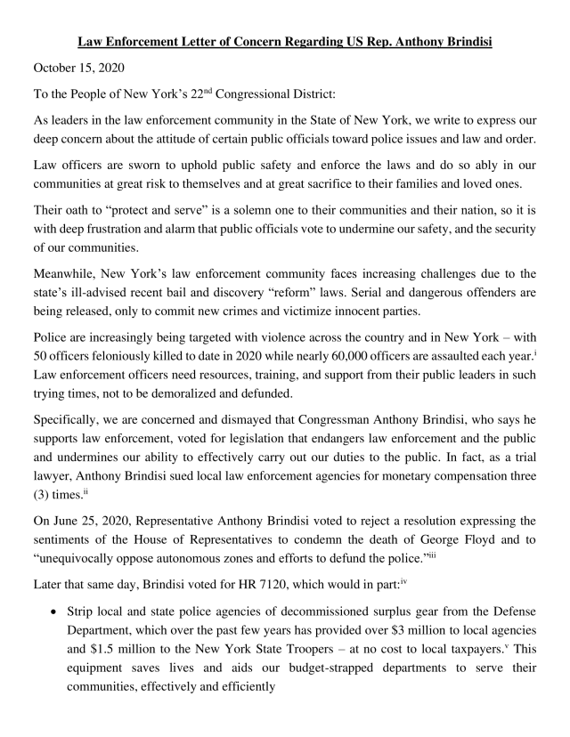 Letter of Concern NY22 Law Enforcement and Anthony Brindisi