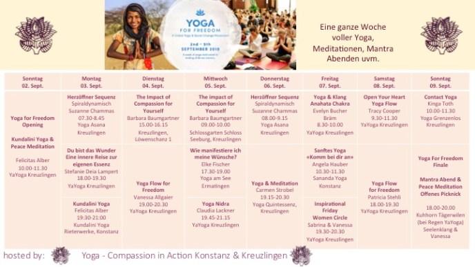 Yoga for Freedom Week 2018 Stundenplan