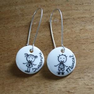 boucles d'oreilles personnalisé porcelaine fait main