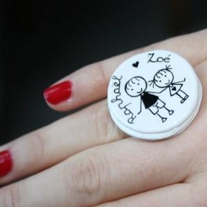 bague personnalisé porcelaine fait main