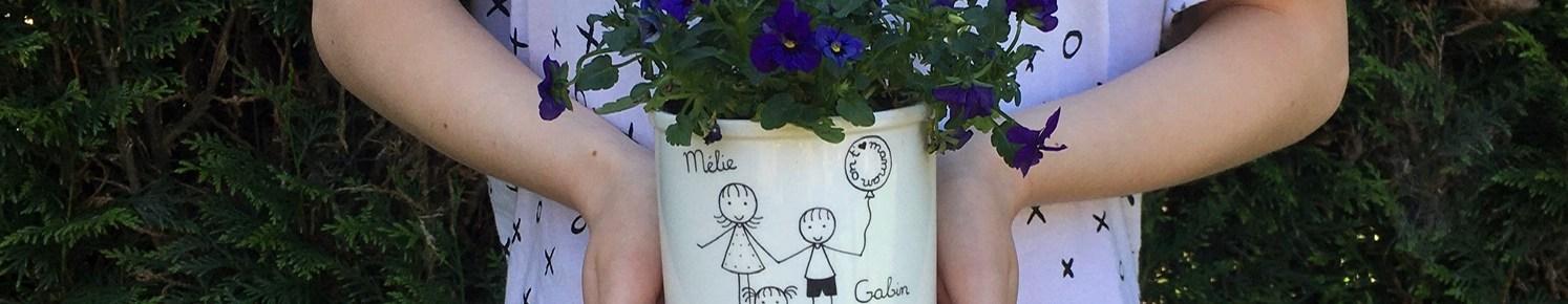 Cache-pot personnalisé cadeau original la fête des mères ou grands-mères