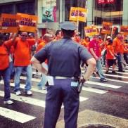 Manifestation syndicale pour Obama, Columbus Day (Manhattan)