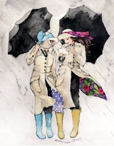con piloto y paraguas