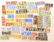 Word tiles in clay, 2016.