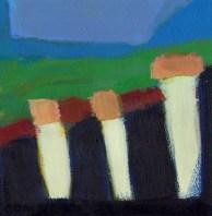 """Small landscape, Day 7 - 6"""" x 6"""" on Masonite."""