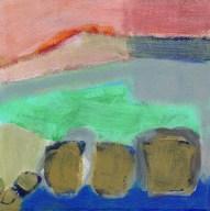 """Small landscape, Day 37 - 6"""" x 6"""" on Masonite."""