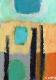 """Small landscape, Day 49 - 7"""" x 5"""" on canvas board."""