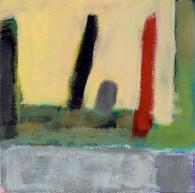 """Small landscape, Day 35 - 6"""" x 6"""" on Masonite."""