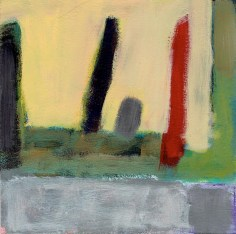 "Small landscape, Day 35 - 6"" x 6"" on Masonite."
