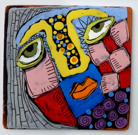 Clay tile 6x6 irregular 10-17 face with red and pink checks002