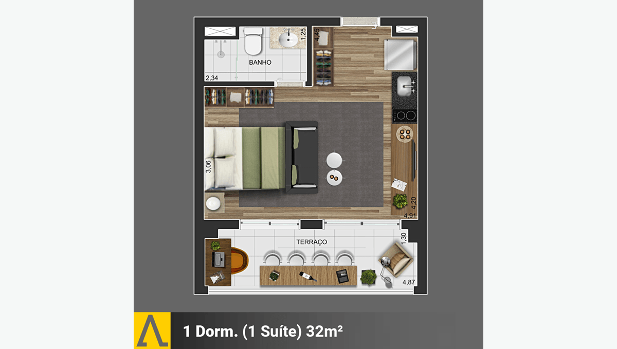 Walk SP - Planta Studio de 32m²