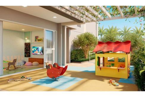 Brooklin Bricks - Perspectiva ilustrada do playground integrado com a brinquedoteca