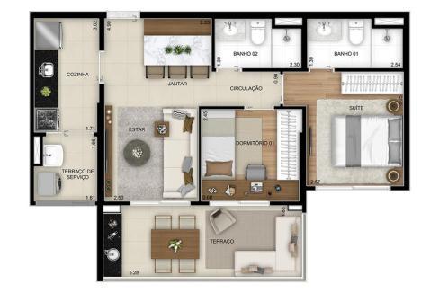 Planta Opção 2 Dormitórios (1 Suíte) - Final 8 com 63m² do Next Astorga Condomínio Clube